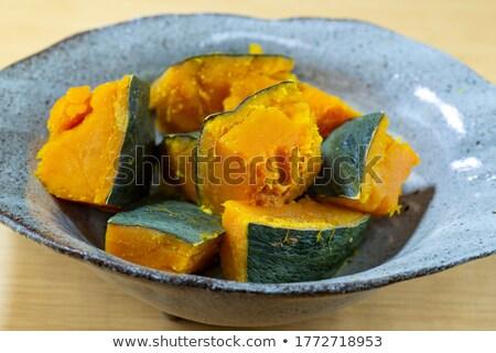 Pişmiş kabak cam yemek karanlık meyve Stok fotoğraf © ajfilgud