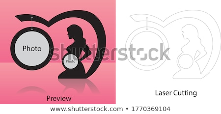 Woman amazed by wooden frame Stock photo © photography33