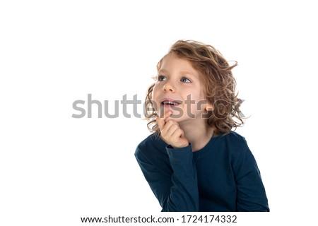 Foto stock: Pequeno · menino · pensando · isolado · branco · olho