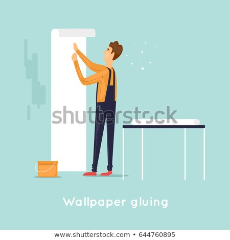 Man pasting wallpaper Stock photo © photography33
