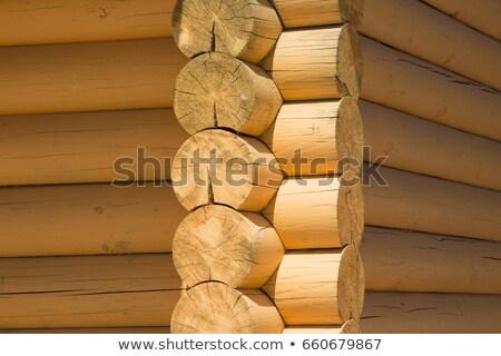 Old wooden log house corner Stock photo © Anterovium