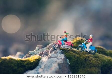 motorkerékpár · fű · pár · férfi · város · fal - stock fotó © kirill_m