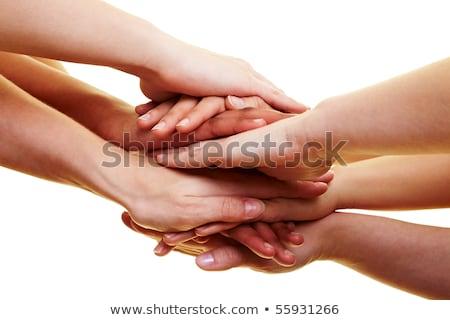 Muitos mãos topo outro homem amigos Foto stock © oly5