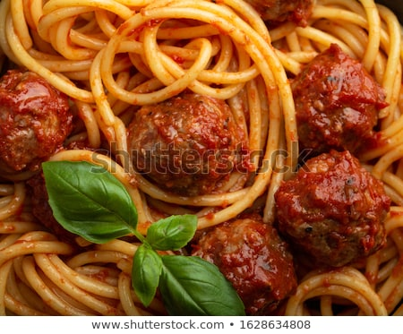 tál · spagetti · húsgombócok · paradicsomszósz · étel · főzés - stock fotó © m-studio