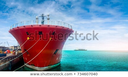blue cloudy sea with big ships stock photo © smuay