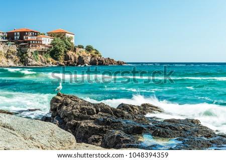 Zand Blauw zee Bulgarije hemel water Stockfoto © jonnysek