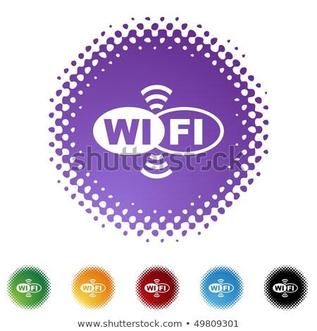 Wifi vector paars web icon knop Stockfoto © rizwanali3d