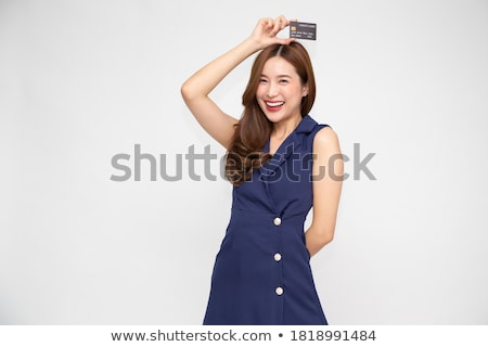 mooie · jonge · vrouw · kaart · lege · kaart · exemplaar · ruimte - stockfoto © nyul
