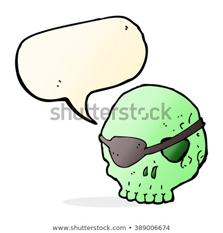 cartoon spooky skull with eye patch with speech bubble Stock photo © lineartestpilot