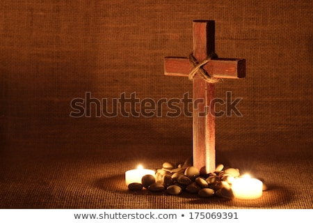 Candle and wooden cross Stock photo © wavebreak_media