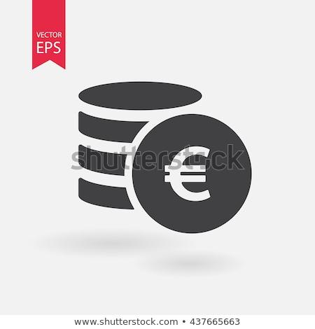üzletember · tart · Euro · ikon · sötét · kék - stock fotó © fotoquique