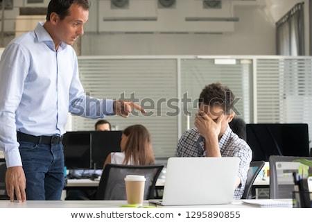 Stock fotó: Boss Hand Firing Guilty Businessman
