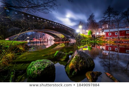 bridges over a nightly stream stock photo © mps197