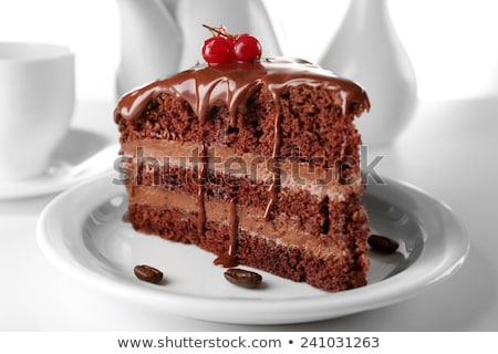 chocolate cake on the white plate with a cup of coffee Stock photo © nessokv