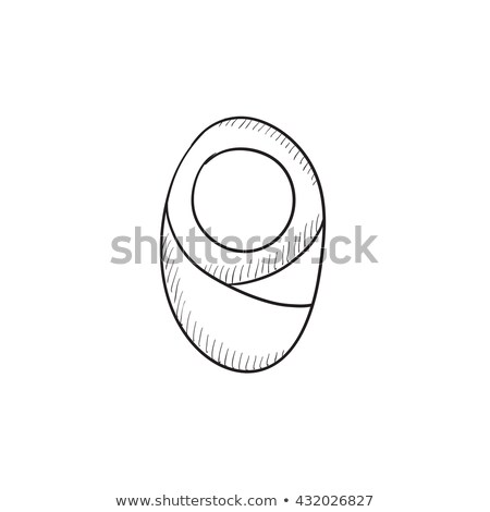 Infant wrapped in swaddling clothes sketch icon. Stock photo © RAStudio