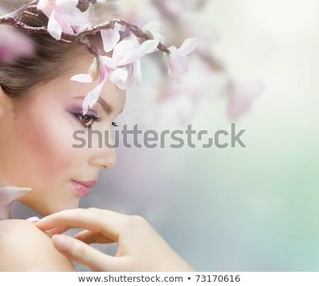 szép · szín · smink · gyönyörű · lány · csukott · szemmel · színes - stock fotó © elnur