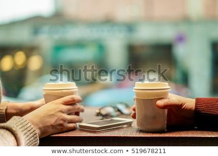 siyah · kahve · fincan · kahve · molası · dizüstü · bilgisayar · defter - stok fotoğraf © wavebreak_media