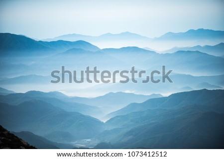 Sabah buğu dağ vadi bahar manzara Stok fotoğraf © Kotenko
