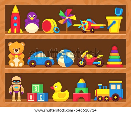 Teddy bears and balls on shelf Stock photo © bluering