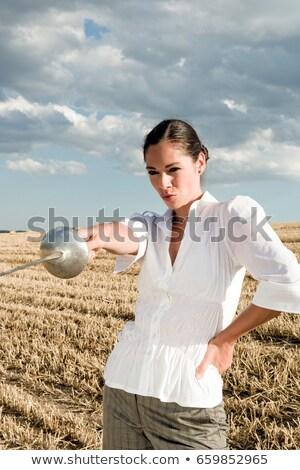 Nő mutat kard búzamező égbolt búza Stock fotó © IS2