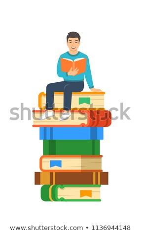 Fiatal ázsiai fiú diák boglya óriás Stock fotó © vectorikart