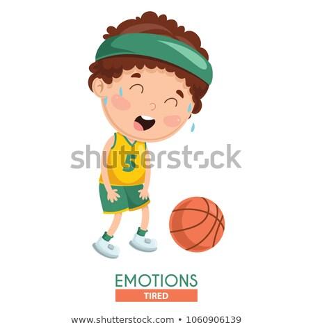Cartoon boos jongen naar basketbal Stockfoto © cthoman