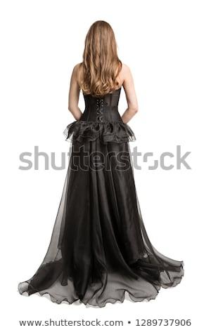 Jovem vestido preto cabelos longos padrão cara menina Foto stock © acidgrey
