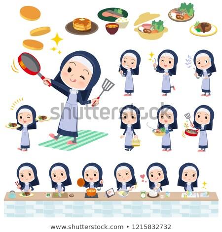 尼僧 · セット · 女性 · 料理 · ベクトル - ストックフォト © toyotoyo