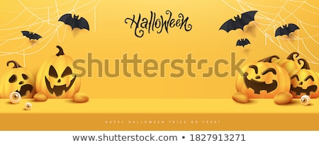 happy halloween banner illustration with typography lettering on dark background vector holiday des stock photo © articular