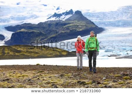 Stock fotó: Tél · trekking · Izland · utazó · lány · térkép