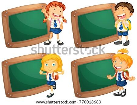 Four wooden frames with schoolkids Stock photo © colematt