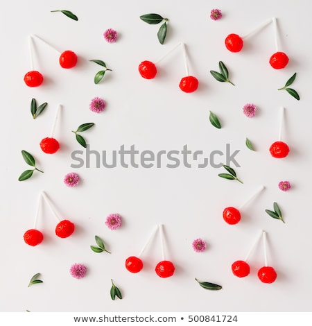 Ripe cherry berries and cherry leaf colourful bright pattern stock photo © Illia