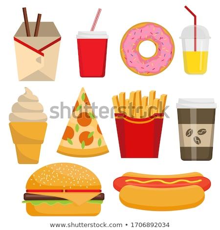 Sándwich hamburguesa establecer carteles pan Foto stock © robuart