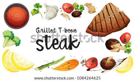 grilled t bone stake element on white background stock photo © colematt