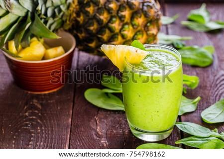 パイナップル スムージー 新鮮な 木製のテーブル 食品 フルーツ ストックフォト © galitskaya