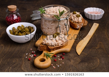 Smoked salmon pate on bread slices Stock photo © boggy