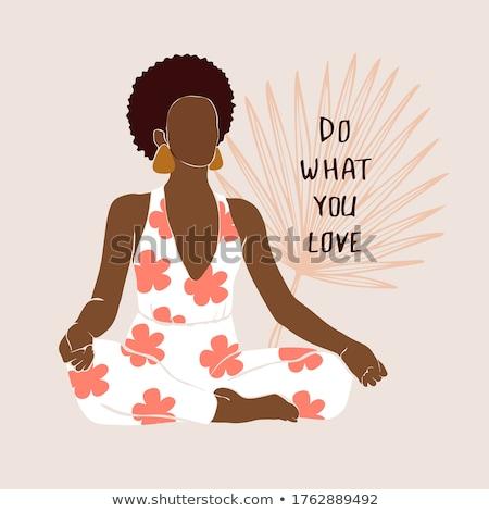 woman doing yoga with phrase i love yoga stock photo © colematt
