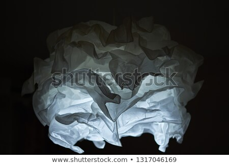 Close up white lampshade over black Stock photo © amok