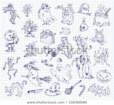 Line drawing of Halloween castle set Stock photo © Blue_daemon