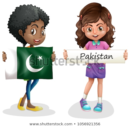 Iki kızlar bayrak Pakistan örnek kız Stok fotoğraf © colematt