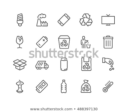 Container With Rubbish Trash Vector Thin Line Icon Stock photo © pikepicture