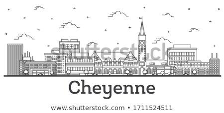 Cheyenne City skyline black and white silhouette. Stock photo © ShustrikS