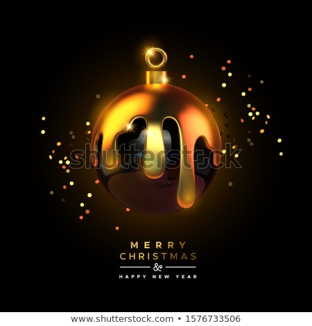 Alegre natal 3D luxo ouro bola Foto stock © cienpies