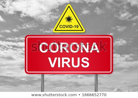 Geel coronavirus banner teken Stockfoto © feverpitch