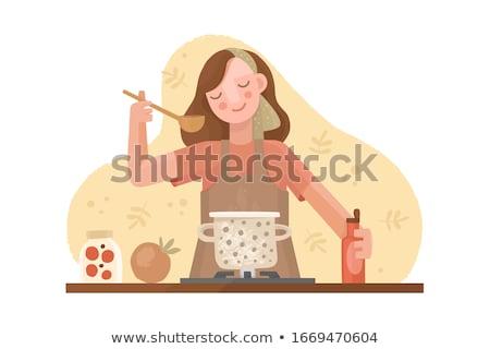 Ménagère tablier cuisson soupe cuisine vecteur Photo stock © robuart