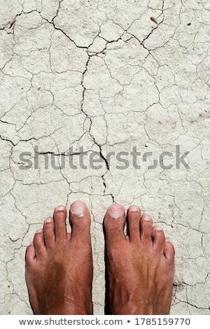Man gebarsten drogen bodem Stockfoto © nito
