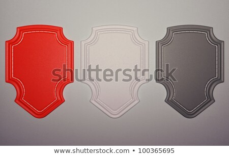 Three Red Labels Or Tags Over Black Leather Background Stok fotoğraf © Arsgera
