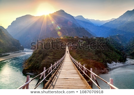 wood bridge and mountain village stock photo © witthaya
