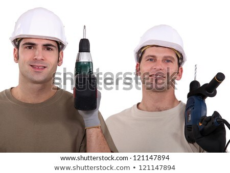 duo of electricians holding drill Stock photo © photography33