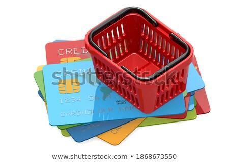 Kék mappa bevásárlókosár fehér citromsárga izolált Stock fotó © tashatuvango